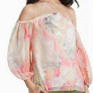 WHBM | Watercolor Strappy Cold Shoulder Top XS